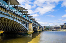 London, U.K, Aug 2018, The Blackfriars Railway Bridge View From The South Side Of The River Thames