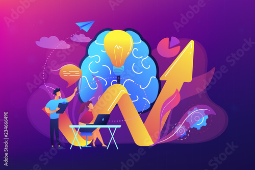 Brain, lightbulb and business team solving problem. Innovative solution, problem-solving and crisis management concept on ultraviolet background. Bright vibrant violet vector isolated illustration