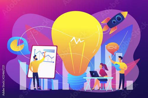 Canvas Prints Textures Business team brainstorm, lightbulb and rocket. Vision statement, business and company mission, business planning concept on ultraviolet background. Bright vibrant violet vector isolated illustration