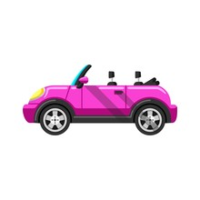 Stylized Pink Convertible Sports Car Vector Image