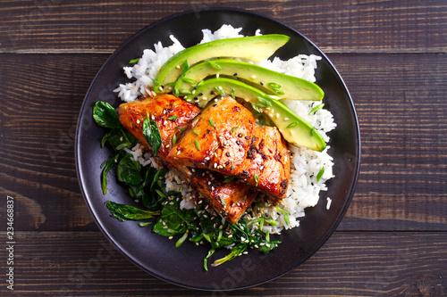 Salmon teriyaki rice bowl with spinach and avocado Canvas Print
