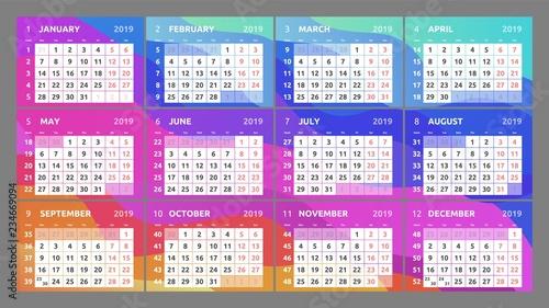 Calendar Pages To Print 2019.Calendar Design For 2019 Week Starts On Monday Set Of 12 Calendar