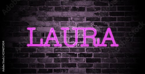 first name Laura in pink neon on brick wall Wallpaper Mural
