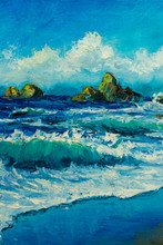 Islands And Waves In The Sea - Marine Seascape Wave Painting