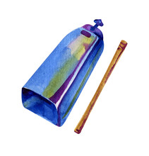Watercolor Isolated Cowbell. Musical Instrument. Sketch Illustration On White Background