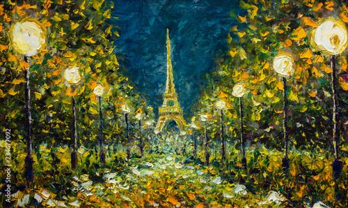 Oil Painting Paris European Night City Landscape France
