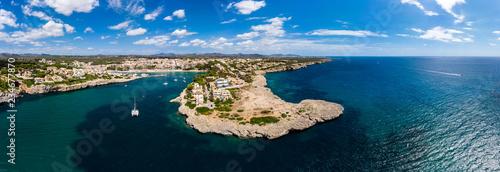 Coast of Porto Cristo with villas and natural harbor, Cala Manacor, Porto Cristo, Mallorca, Balearic Islands, Spain
