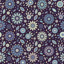 Purple Mystic Falling Leafs And Flowers Vector Pattern, Seamless Repeat On Dark Background. Trendy Vintage Colors. Great For Fabrics, Scapbooking, Cards Or Other Nice Paper Products Like Gift Wrapping