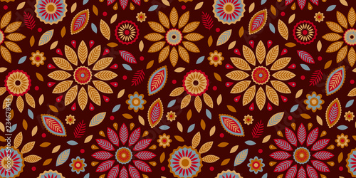 Photo  Ethnic abstract flower and leaf elements, seamless repeat pattern