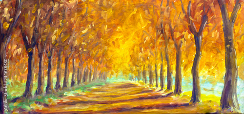 Fototapety, obrazy: Autumn landscape oil painting - gold orange autumn trees in sunny park alley. Autumn in forest wood fine art illustration