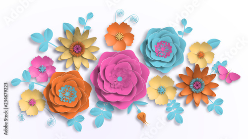 Paper art, summer flowers on a white background with leaves cut of paper. Vector stock illustration