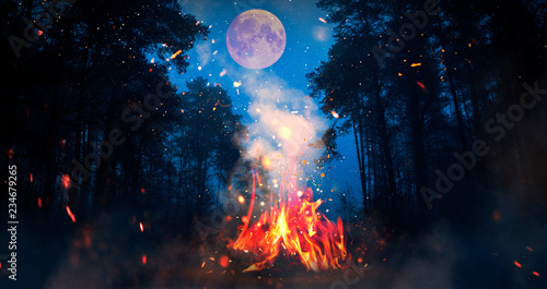 Night forest, a fire is burning, a big moon. Moon map element furnished by NASA