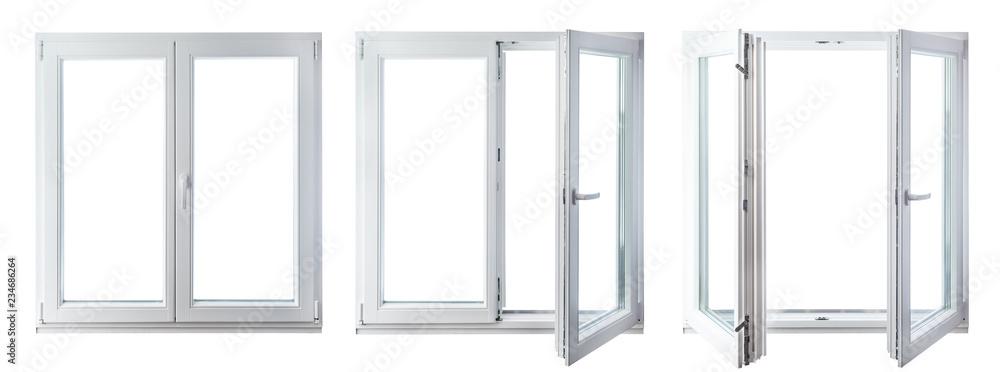 Fototapeta double door window isolated on white background