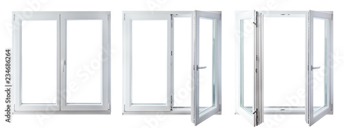 double door window isolated on white background