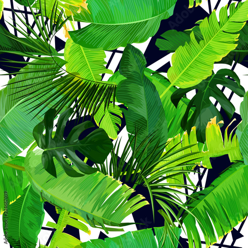 Fototapety, obrazy: Seamless tropical pattern with banana leaves
