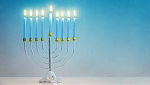 Illuminated Hanukkah Menorah B...