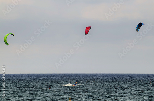 Kitesurfing on the sea of Albenga Canvas Print
