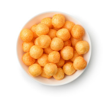 Top View Of Cheese Puff Balls In Bowl