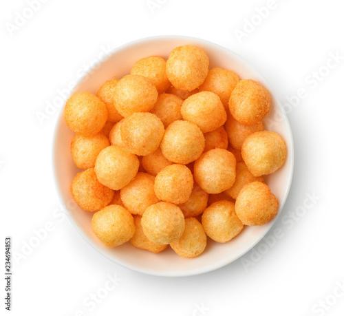 Valokuvatapetti Top view of cheese puff balls in bowl