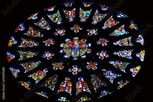 Beautiful stained glass window in Santa Maria Cathedral in Burgos, Spain