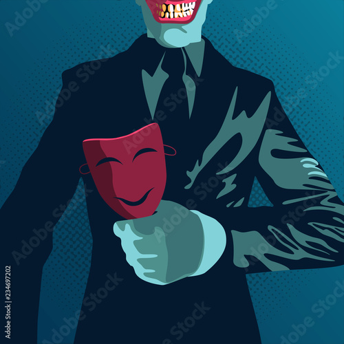 Tablou Canvas danger betrayal businessman in vector illustration, businessman hold on mask in