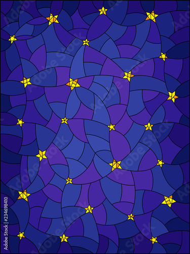 Obraz na plátně Illustration in stained glass style with abstract starry sky
