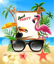 Summer Illustration With Birds