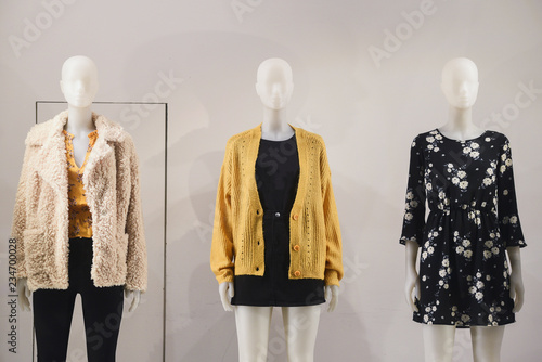 Women clothing on mannequins in a store in Paris, 2018. Canvas Print