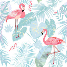 Seamless Pattern Of Flamingo, ...