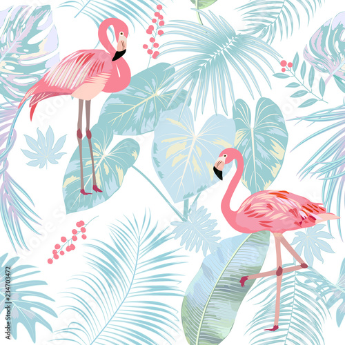 Seamless pattern of flamingo, leaves monstera Fototapet