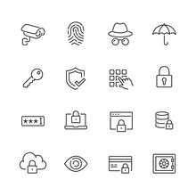 Security Related Icons: Thin Vector Icon Set, Black And White Kit