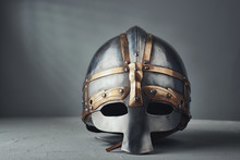 Knight's Helmet On A Gray Back...