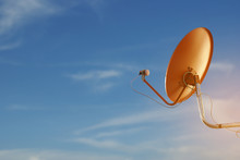 Red Satellite Dish With Blue S...