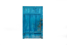 Closed Old Blue Wooden Door Isolated On White Background
