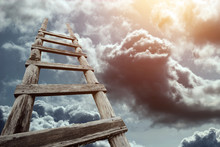 Creative Background, Wooden Staircase Leading To The Sky. The Concept Of A Career Ladder, Raising At Work, The Road To Heaven, Faith, Career Growth. Copy Space.