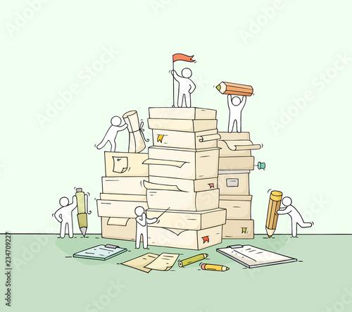 Valokuvatapetti little people with paper stack.