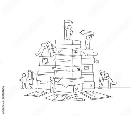Fényképezés  little people with paper stack