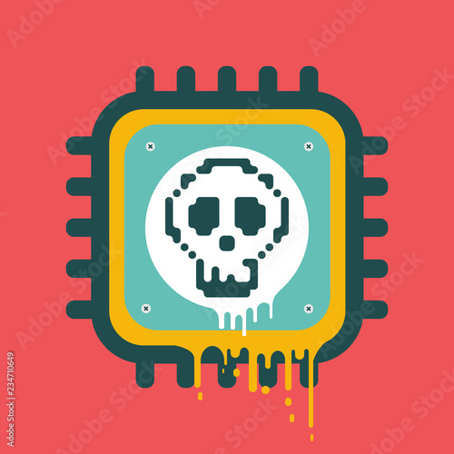 Photo  Vector melting CPU icon with skull cyber security