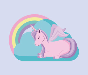 cute unicorn with rainbow of fairy tale