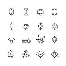 Diamond Related Icons: Thin Vector Icon Set, Black And White Kit