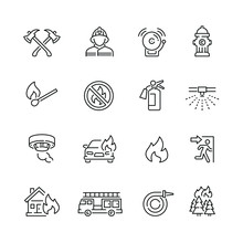 Fire Related Icons: Thin Vecto...