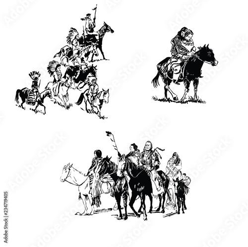 Carta da parati Indian warriors ride horses.