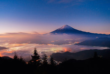 Aerial View Of Fuji Mountain With Mist Or Fog At Sunrise In Fujikawaguchiko, Yamanashi. Fuji Five Lakes, Japan. Landscape With Hills