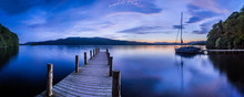 Pier On Windermere At Sunset, Lake District National Park, Cumbria