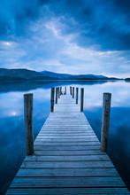 Pier At Derwent Water (Derwentwater) At Sunset, Lake District National Park, Cumbria