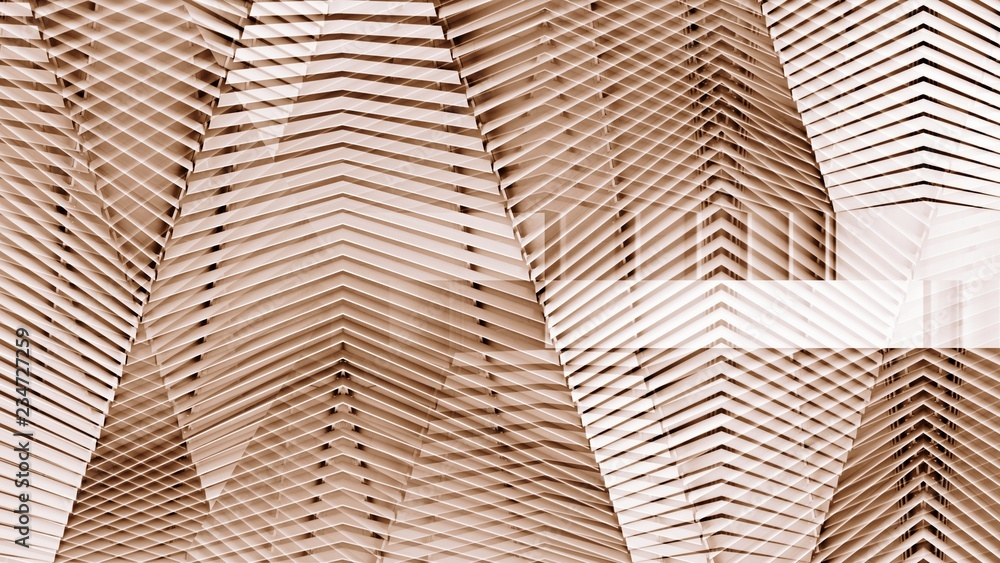 Fototapeta abstract copper modern architecture of a steel wall pattern.