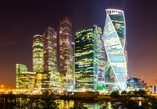 Skyscrapers In Business Center Of Presnensky District, Beside The Moscow River At Night, Moscow, Russia