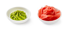 Wasabi And Pickled Ginger In Bowls Isolated On White Background.