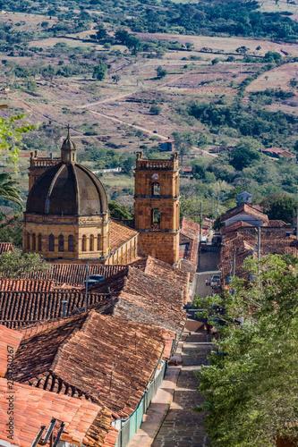 Spoed Foto op Canvas Zuid-Amerika land Barichara Skyline Cityscape Santander in Colombia South America