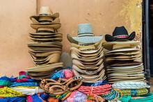 Traditional Local Cowboy Hats For Sale In Copan Town, Copan, Honduras